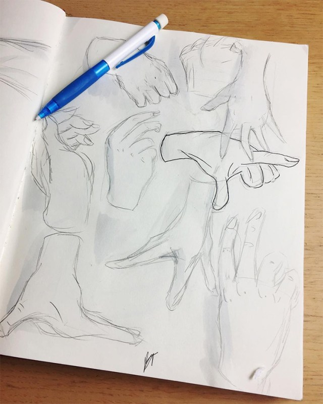 Drawing practice with hands