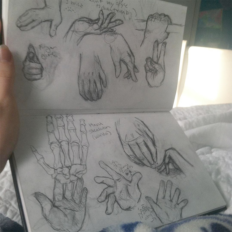 Hand bones and skin in sketchbook