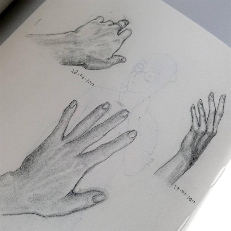 Dark shading hands and wrists