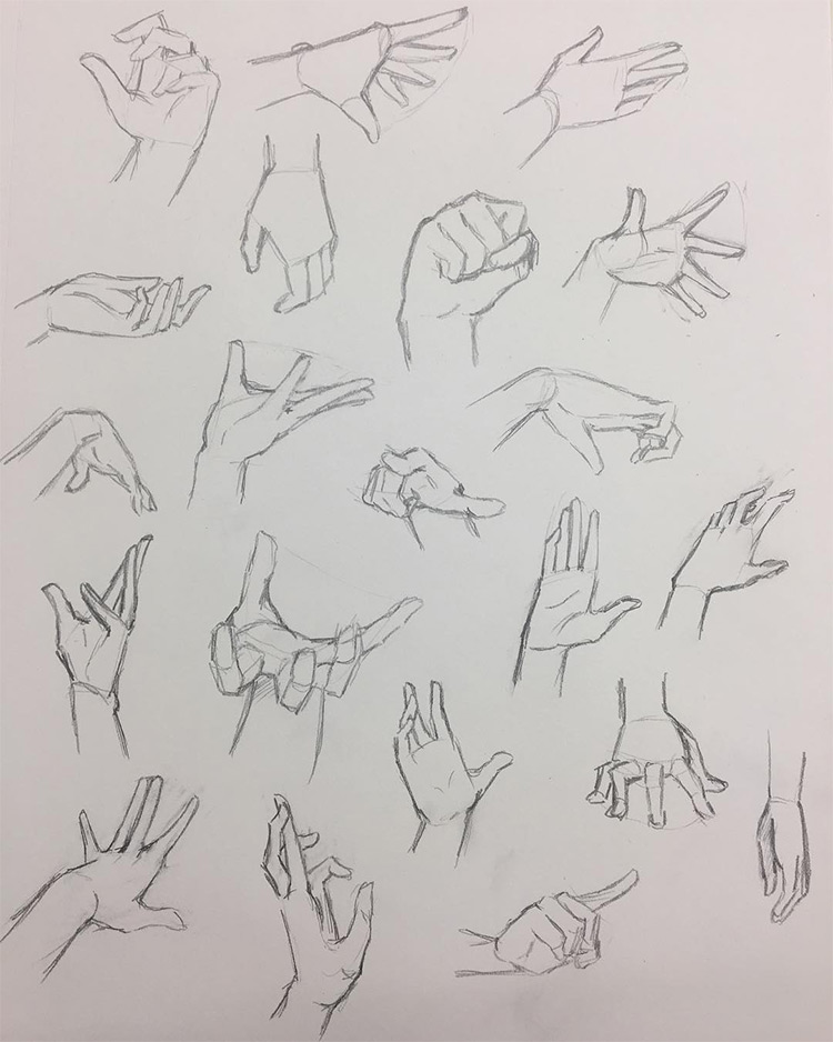 Drawing different hand poses