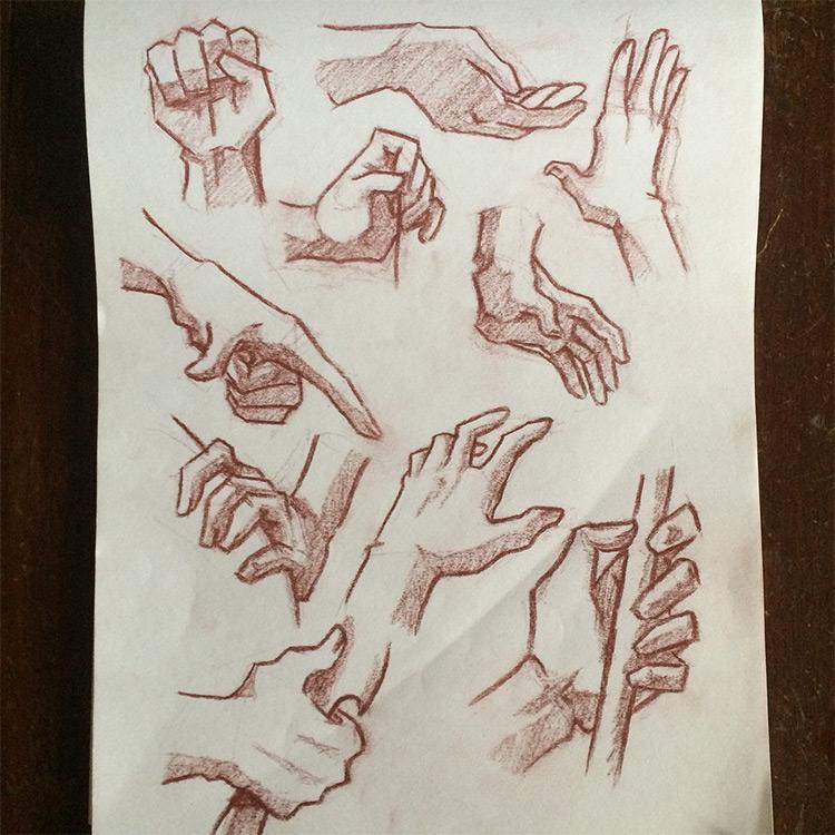 More hand pose drawings