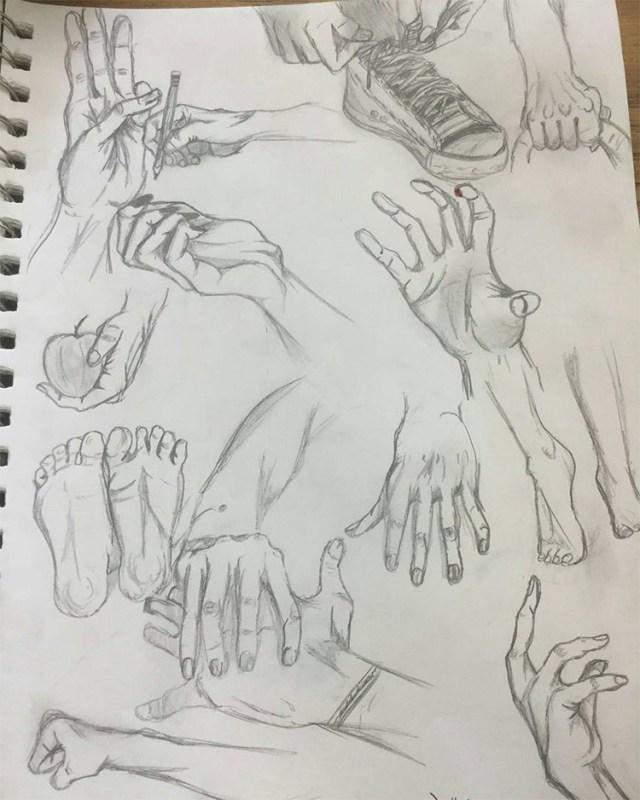 Various hand sketching poses