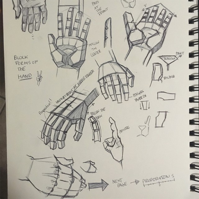 Block style hand drawings for practice