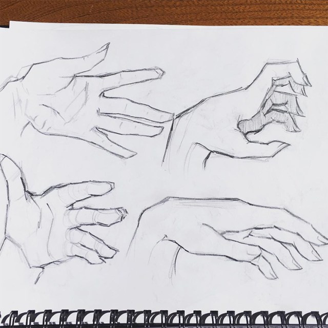 Fingers pointing in hand