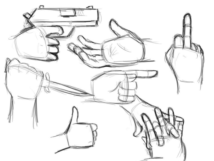 Basic cartoon hand sketches