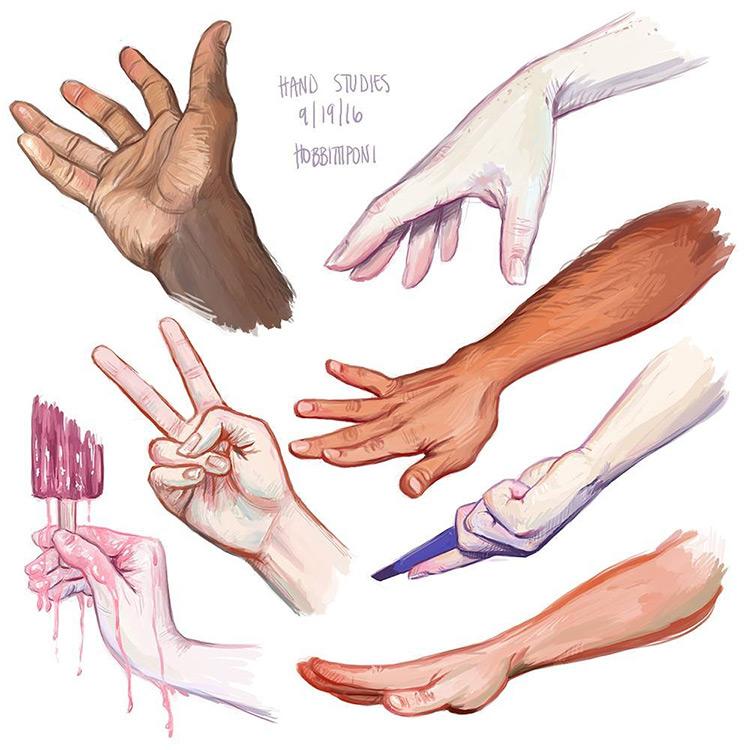 Digital paintings of hand studies