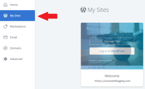 blueHost installation page
