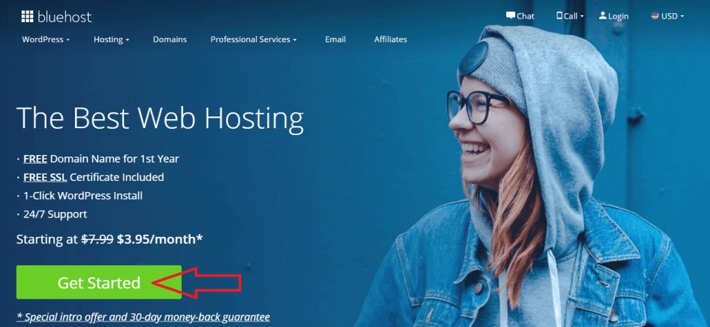 bluehost hosting step 1