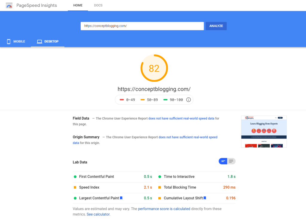 pagespeed insights report