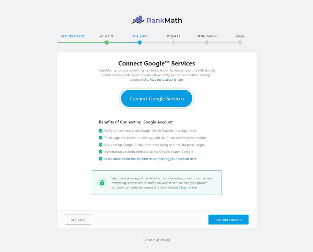 rank math connect google services