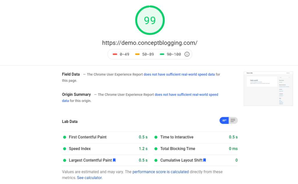 astra theme pagespeed insight
