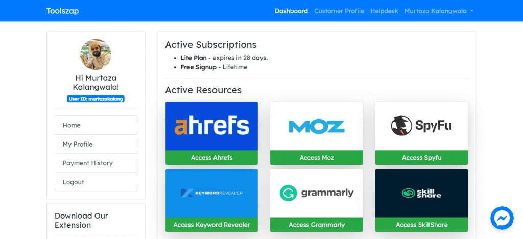 toolszap dashboard