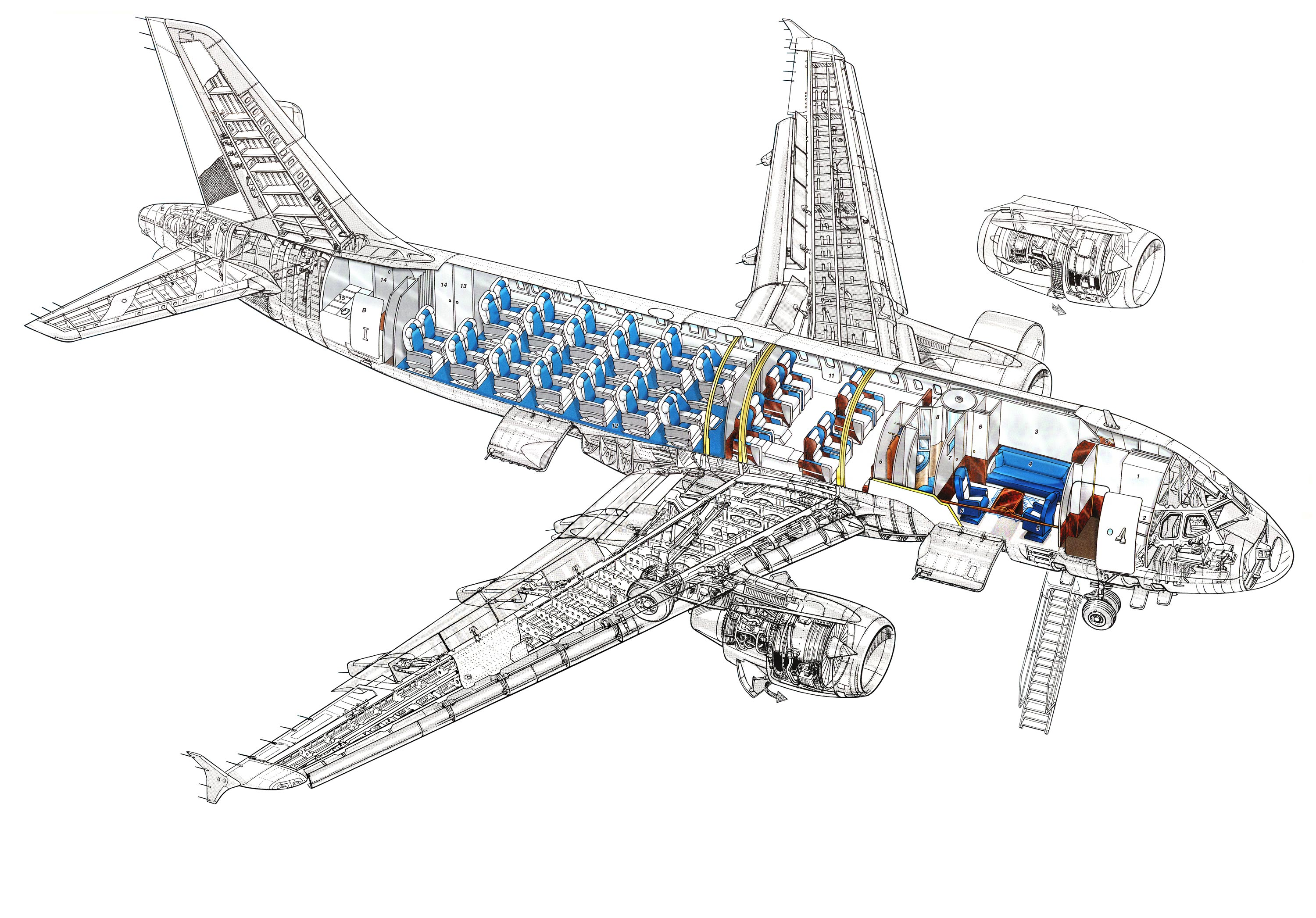 Airbus A319 Cutaway Drawing In High Quality