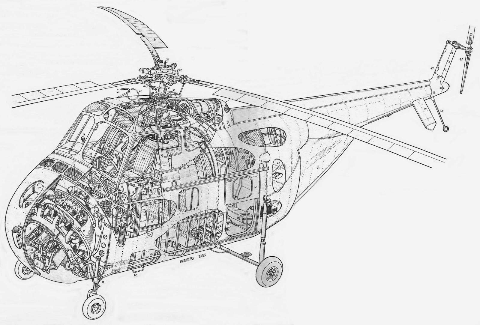 Sikorsky H 19 Chickasaw Cutaway Drawing In High Quality