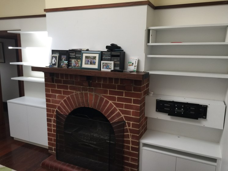 Small custom Built in cabinet with Floating shelves