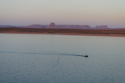 lake powell boat at dusk