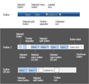 Design elements  Toolbars | MS Windows Vista user interface  Vector stencils library | MS