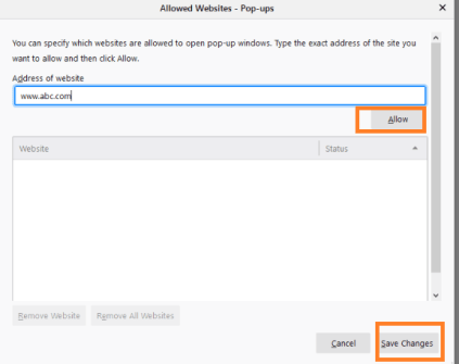 Allow exception in firefox