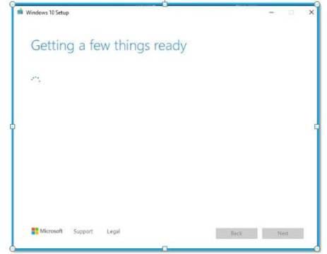 Windows 10 setup Getting Info