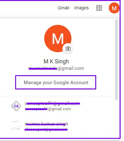 Manage user Account