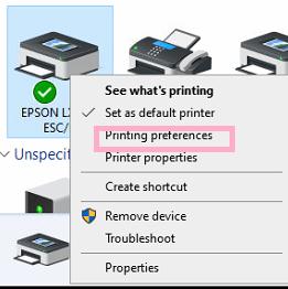 Printer Preference Options