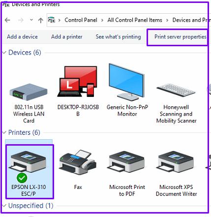 Select Epson Printer and Click on Print Server Properties on TOP panel