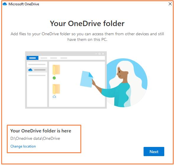 One Drive Folder Location to setup on Windows 10