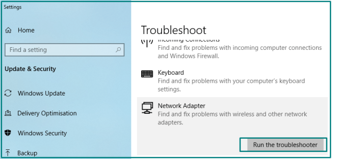 Run the Network Troubleshooter