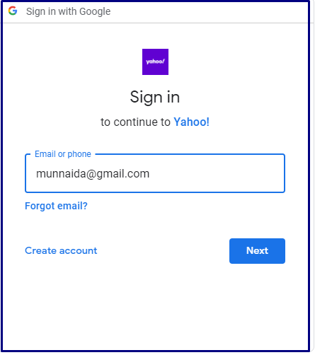 Yahoo login using google account