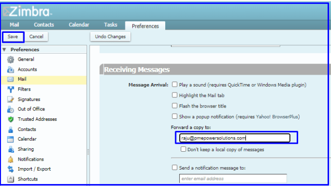 forward email options in Zimbra
