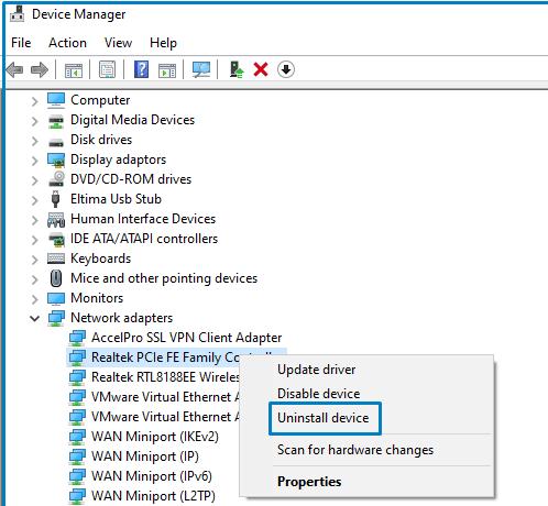 uninstall Network Driver