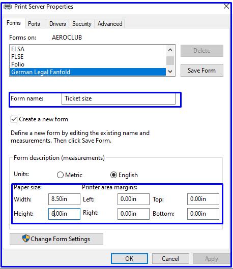 Print server properties TVS printer MSP 240