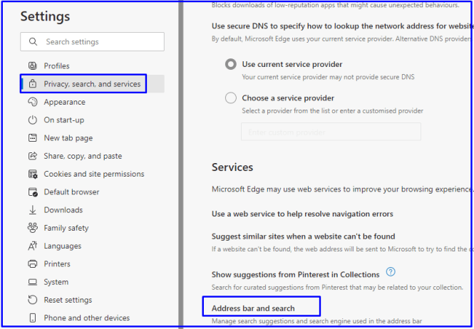 address bar and search options in Microsoft edge browser