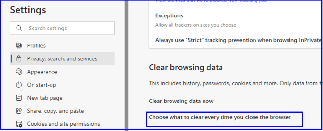 choose what do clear every time in Microsoft edge browser