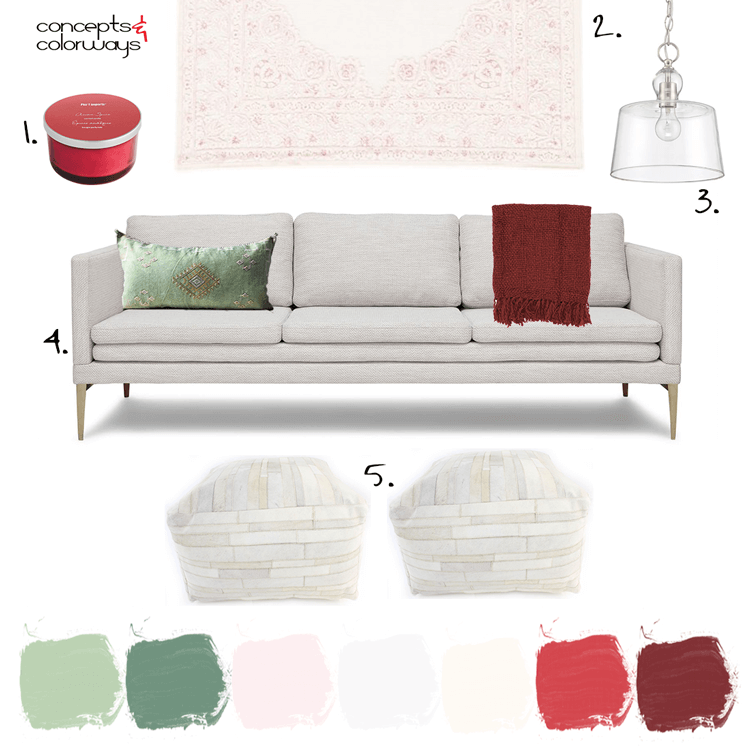 A White Living Room Design With Red And Green Accents Concepts And Colorways