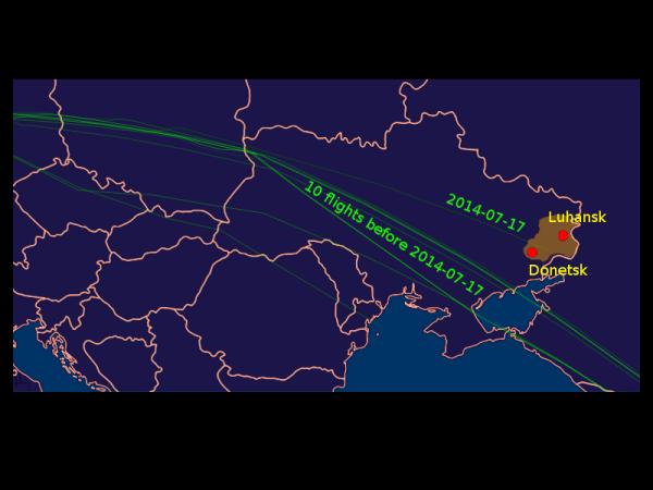 MH 17 flight paths