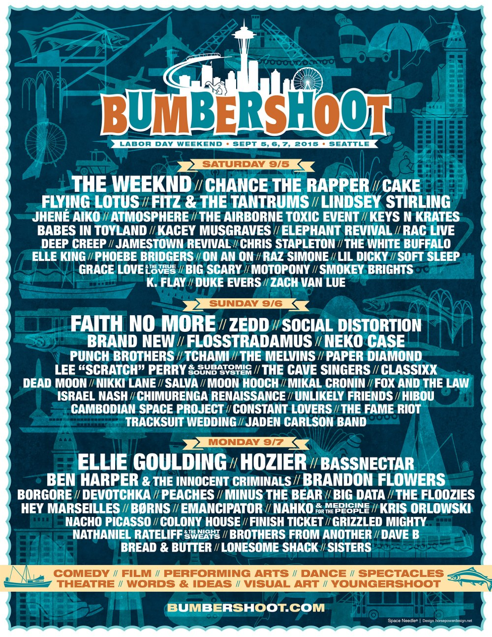 Bumbershoot 2015 lineup announcement poster