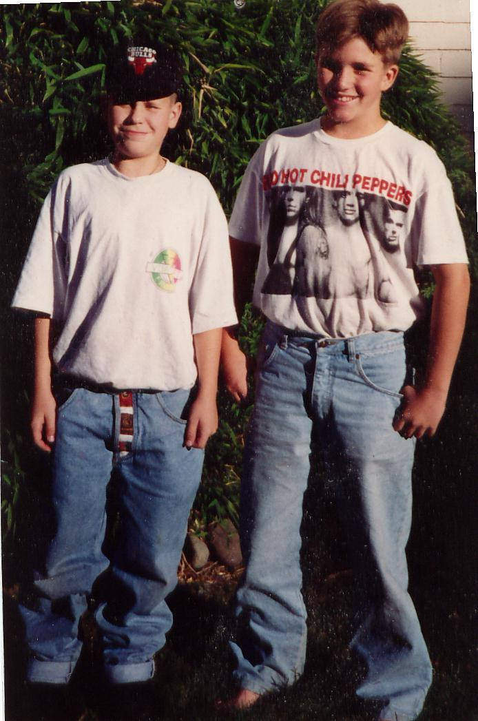 Jamie Taylor (RHCP shirt) and Nigel Holubitsky in Coquitlam, BC in 1992/1993