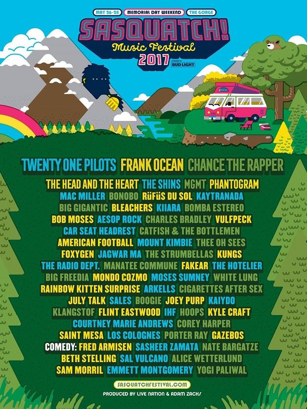sasquatch festival 2017 lineup poster