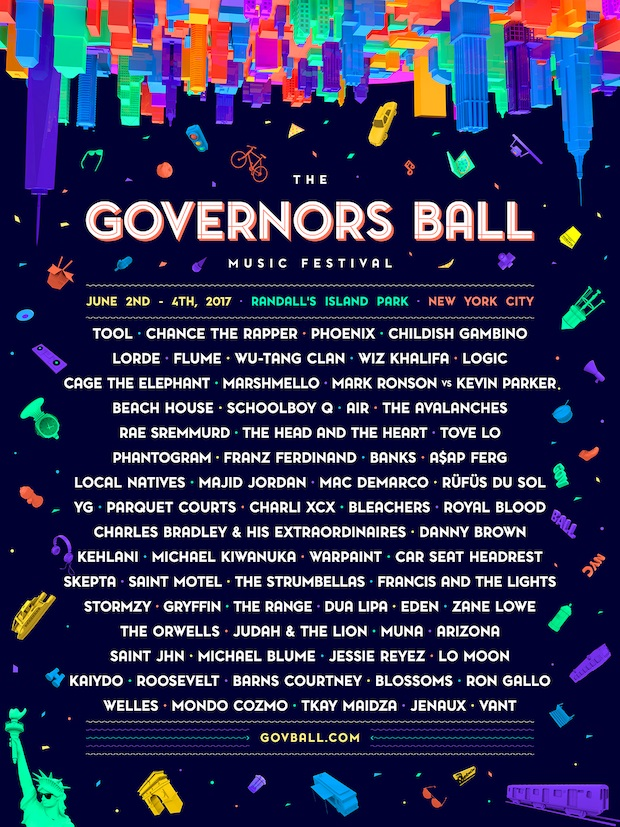 governors ball festival 2017 lineup poster