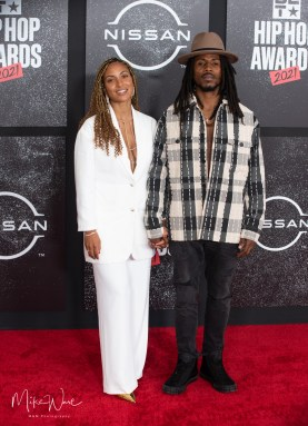 D Smoke and Angelina Shere - Rapper/Song Writer on the Red Carpet, 2021 BET Hip Hop Awards Atlanta, Ga. 10-1-21 (Photo By: Mike Ware/SIPA USA)