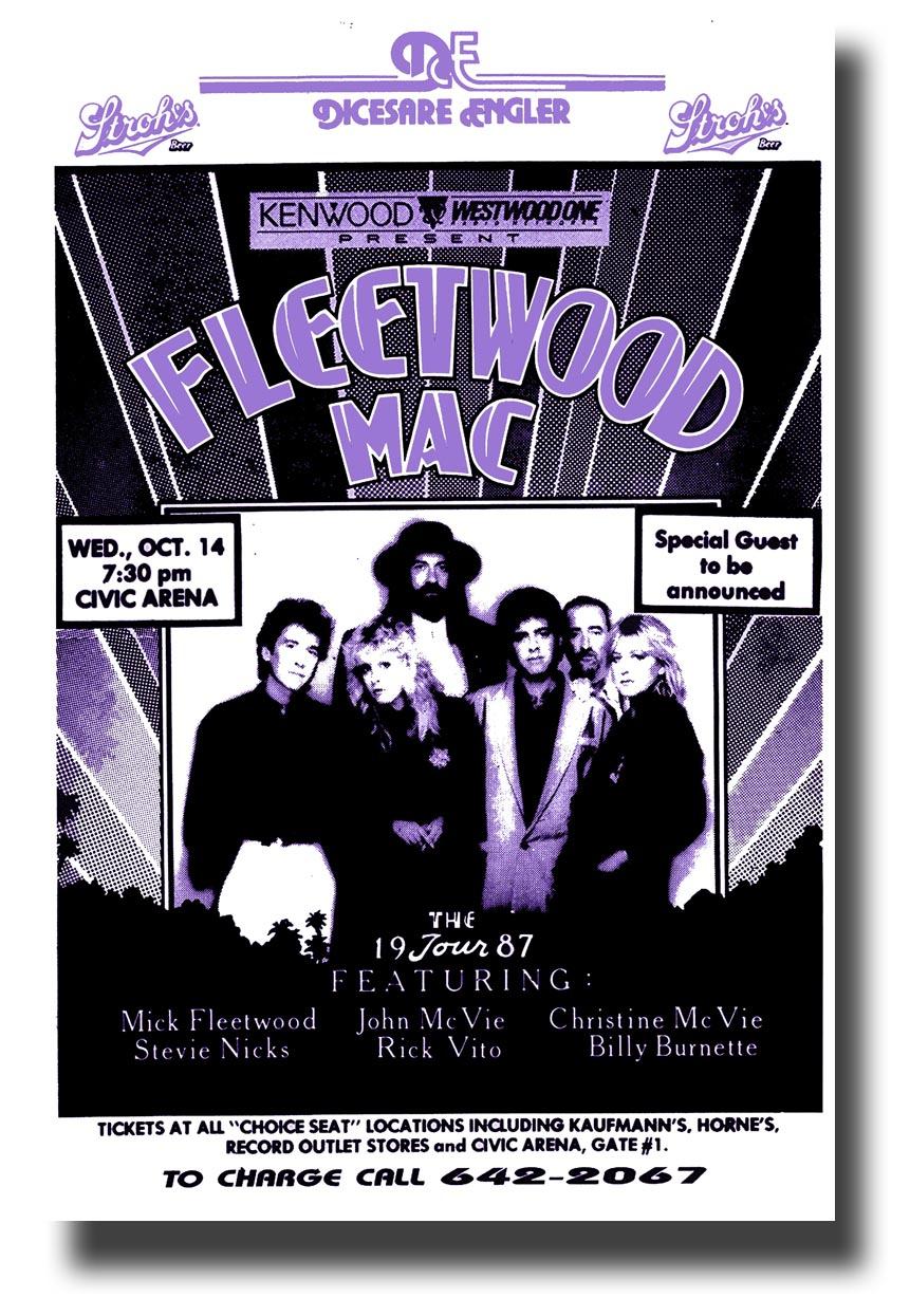 fleetwood mac poster concert 70s purple