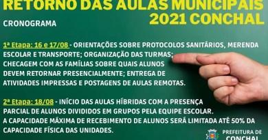 Prefeitura de Conchal define calendário para retomada das aulas presenciais da rede municipal para o segundo semestre de 2021