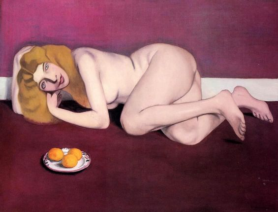 Nude Blond Woman With Tangerines