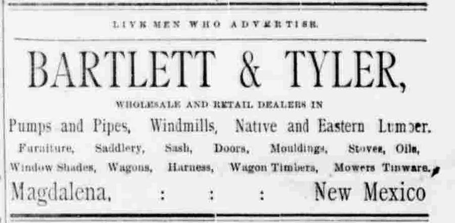 Ad for Bartlett and Tyler, Black Range newspaper, 1888