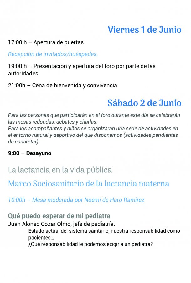 Foro Andaluz de Galms, programa pagina 1