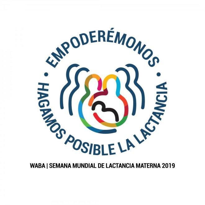 Logo de la semana mundial de la lactancia 2019, de Waba, en el que se promoverá el papel del padre en la lactancia materna como agente facilitador.