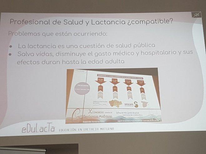 Diapositiva de la I jornada de lactancia materna de Edulacta
