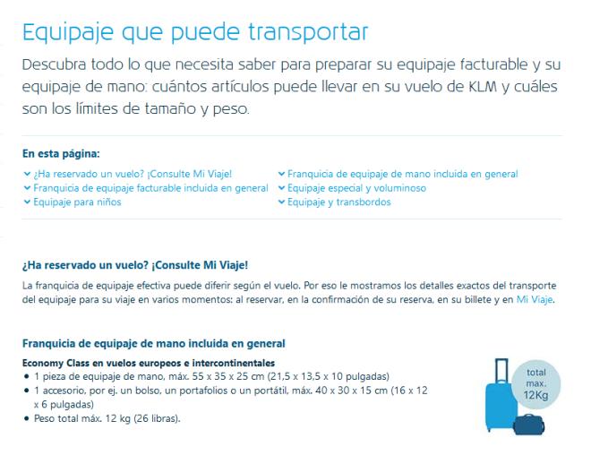 Tablar de medidas de maleta y bolso de mano permitido a la hora de viajar en avión con KLM, sin necesidad de facturar