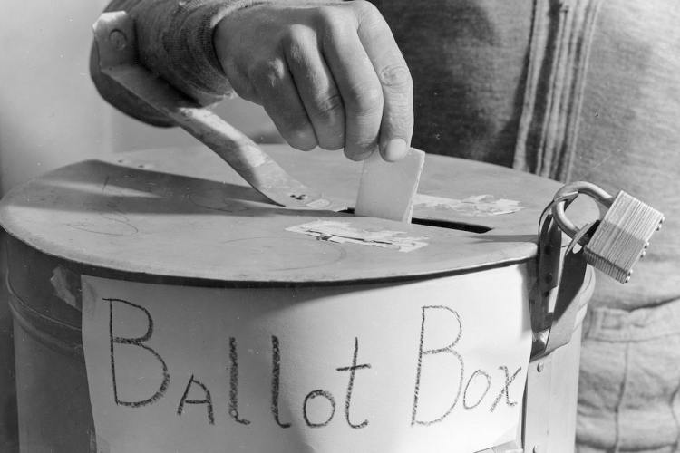 Locked ballot box used in Carson, North Dakota on October 30, 1940. Photo courtesy National Archives and Records Administration. (USDA)